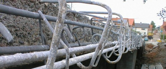 Erf-Brücke, Bürgstadt, Kappenverbreiterung, Abtrag der alten Kappen